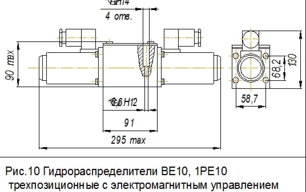 Габаритные и присоединительные размеры 1PE10 44 (ПЕ10 44)