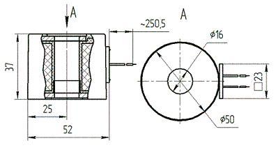 Габаритные и присоединительные размеры электромагнитной катушки П-РЭ - 3/2,5