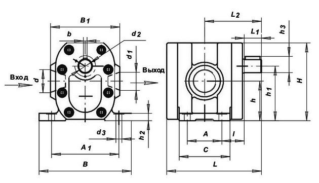 Размеры насосов Г11-25, Г11-25А, Г11-23, Г11-23А, Г11-22, Г11-22А, Г11-24, Г11-24А