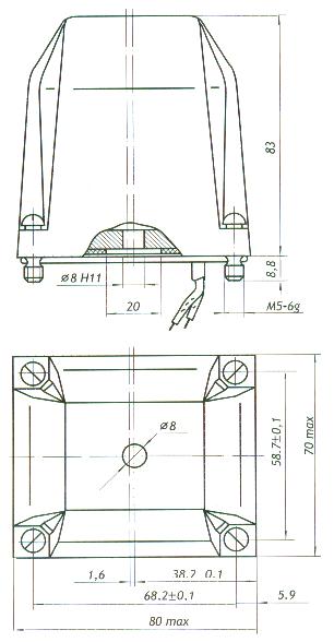 Габаритные и присоединительные размеры электромагнита МТ-5202