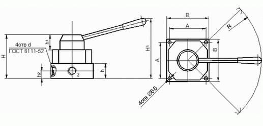 Размеры крановых распределителей В71-24М-01, В71-24М-02, В71-23М-01, В71-23М-02, В71-22М-01, В71-22М-02