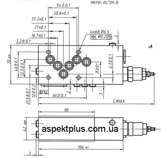 Габаритные и присоединительные размеры клапана МКРВ-10/3МР1, МКРВ-10/3МР2, МКРВ-10/3МР3