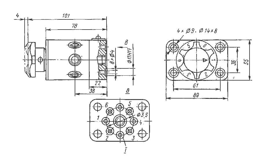 Габаритные и присоединительные размеры переключателей манометров ПМ6-С320, ПМ6-320, ПМ2.1-С320, ПМ2.2-С320