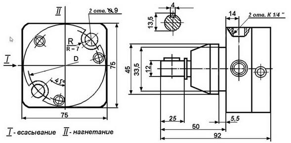 Габаритные и присоединительные размеры насосов С12-41, С12-42, С12-43, С12-44